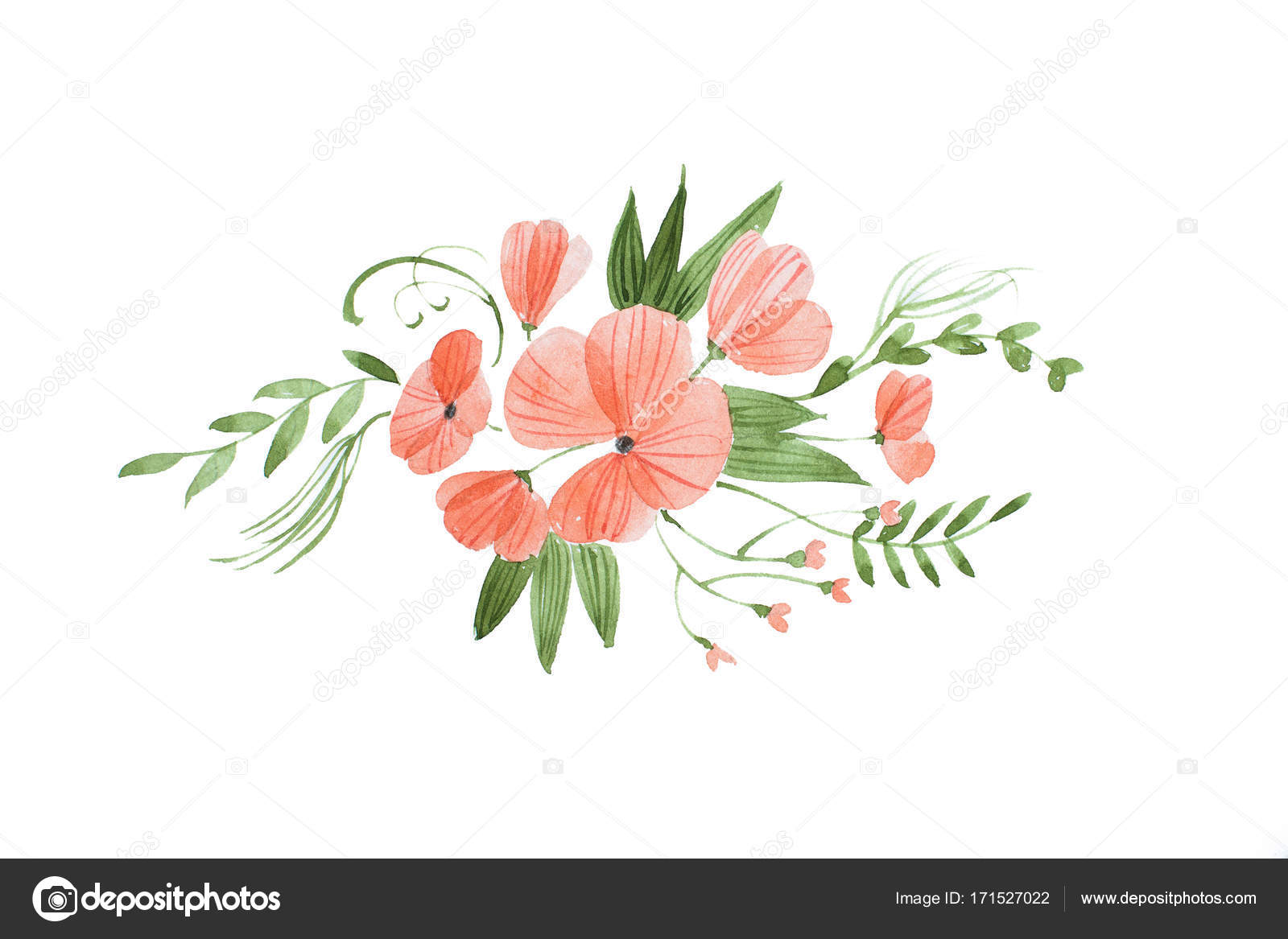 Hand drawn watercolor sketch of beautiful bridal bouquet composed of hand drawn watercolor sketch of beautiful bridal bouquet composed of fresh pink flowers and leaves izmirmasajfo