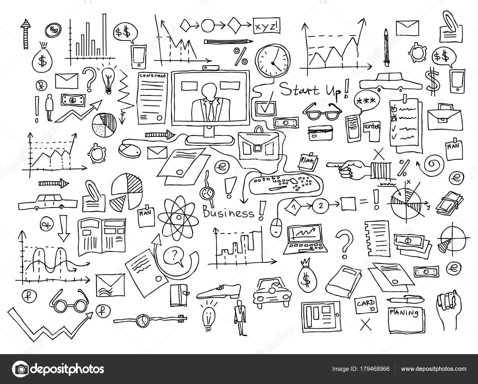 Doodle-Elemente zeichnen Hand. Business-Finanzen-Diagramm-Grafik ...