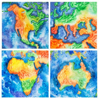 Map. Watercolor illustration of Australia Africa America Europe mainlands, continents.