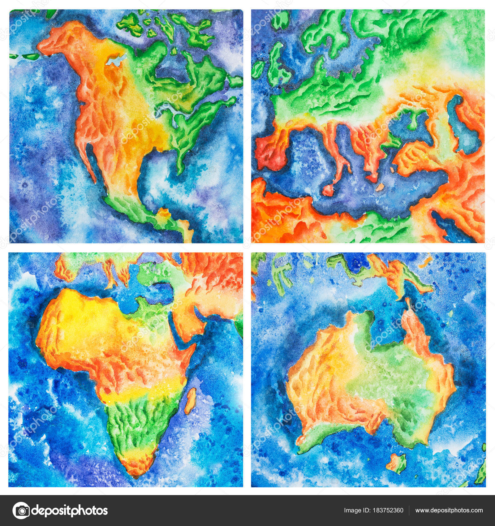Carte Amerique Europe.Carte Illustration Aquarelle De Tempere L Europe Australie