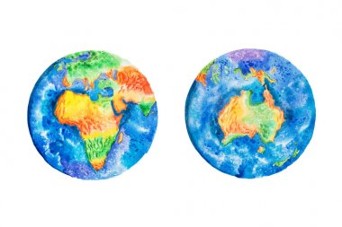 Globe. Watercolor illustration of planet Earth Africa and Australia continents.
