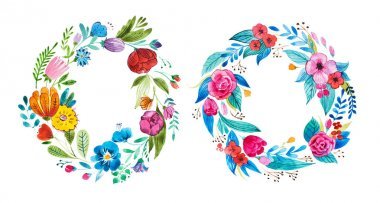Bright garland of wild flowers drawn on white paper with aquarelle technique. stock vector