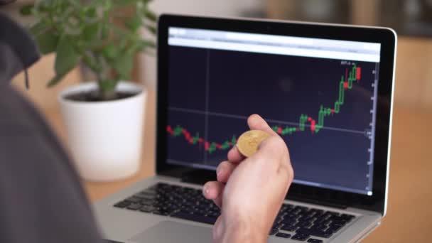 4k rozlišení mansardské ruky držící bitcoin a kontrola kryptoměn graf