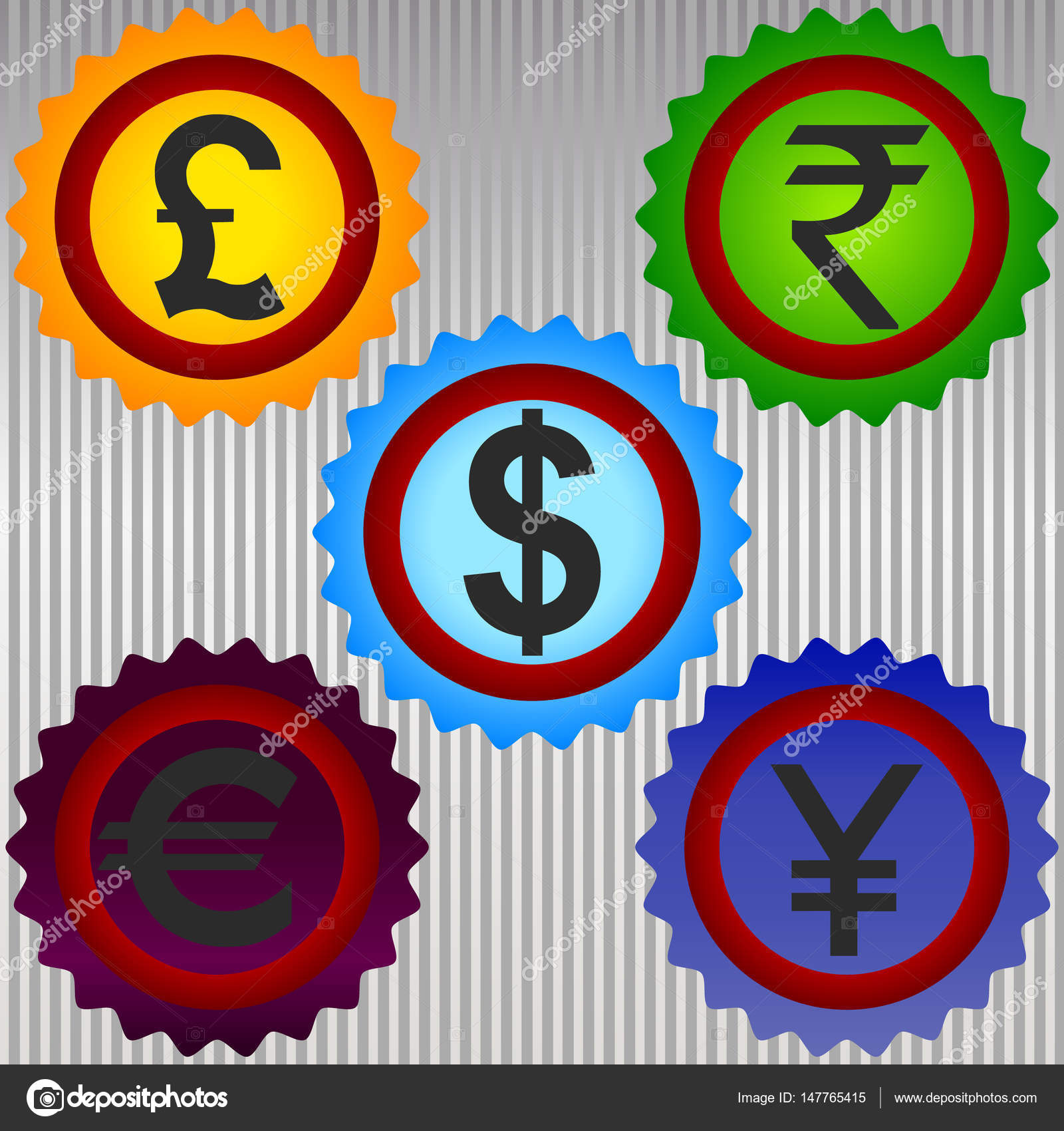 International Currency Symbols Vector Stock Vector Liluly332201