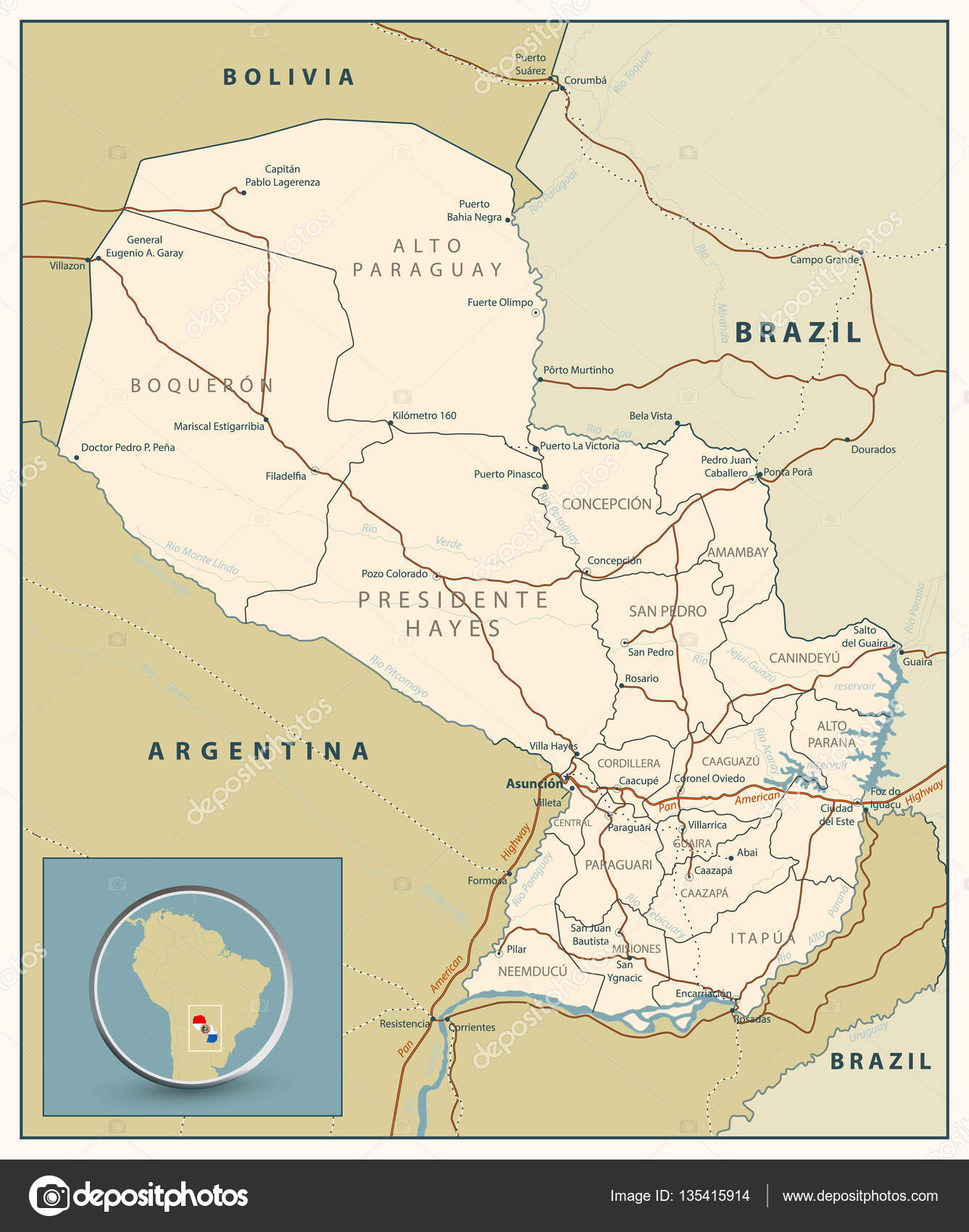 Highly detailed road map of Paraguay with roads railroads and w