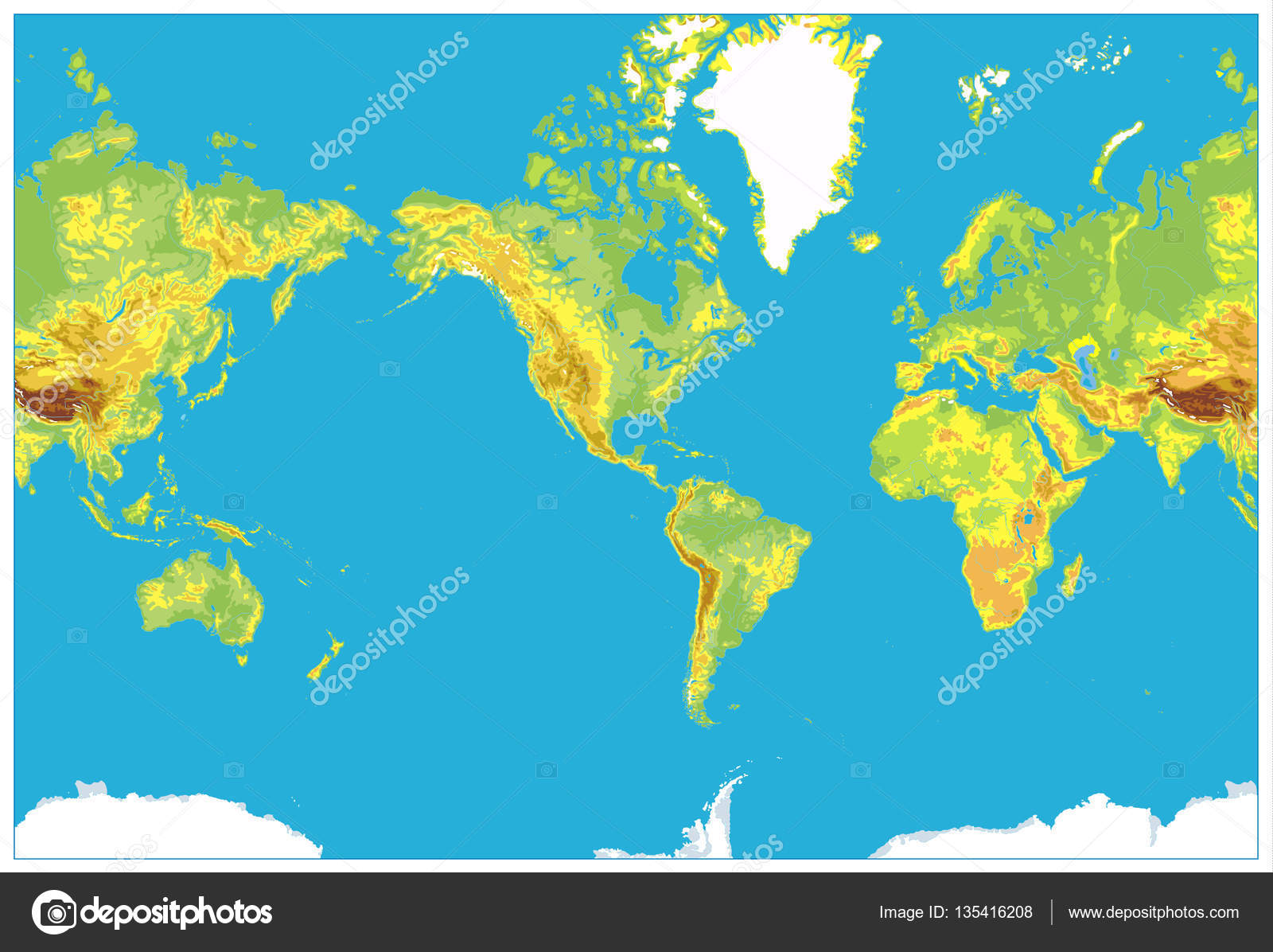 America centered detailed physical world map stock vector america centered detailed physical world map stock vector gumiabroncs Image collections