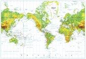 Amerikai központú fizikai világ Térkép elszigetelt fehér