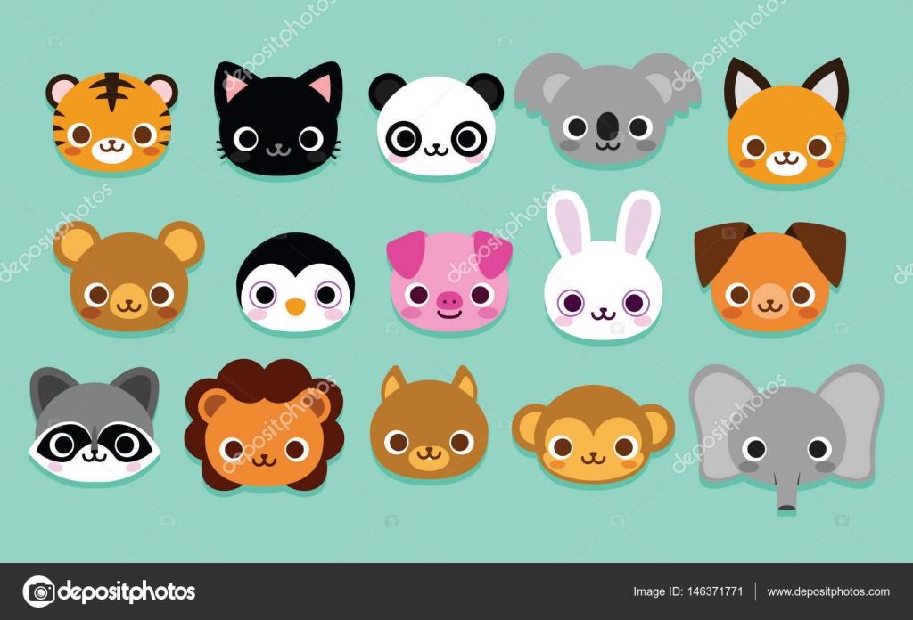 Set Of Cute Cartoon Animals Isolated Stock Vector C Aratehortua