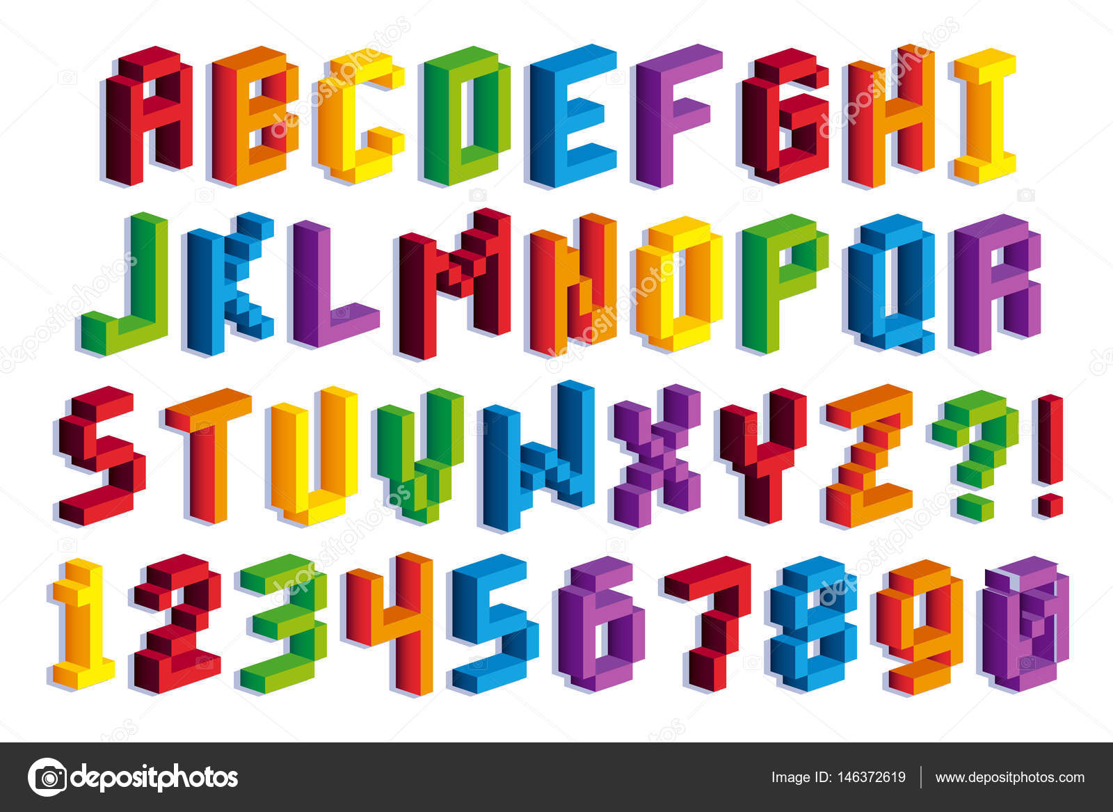 Isometric Pixel 3D Alphabet And Numbers — Stock Vector ...