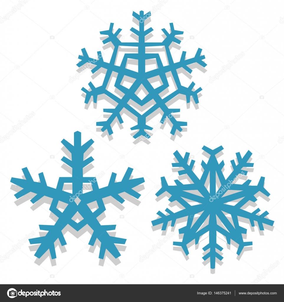 Christmas cartoon snowflakes on white background — stock