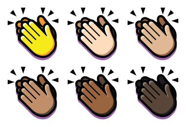 Set Of Clapping Hands Isolated On White Background