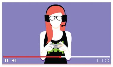 Young Woman Playing Videogames On Video