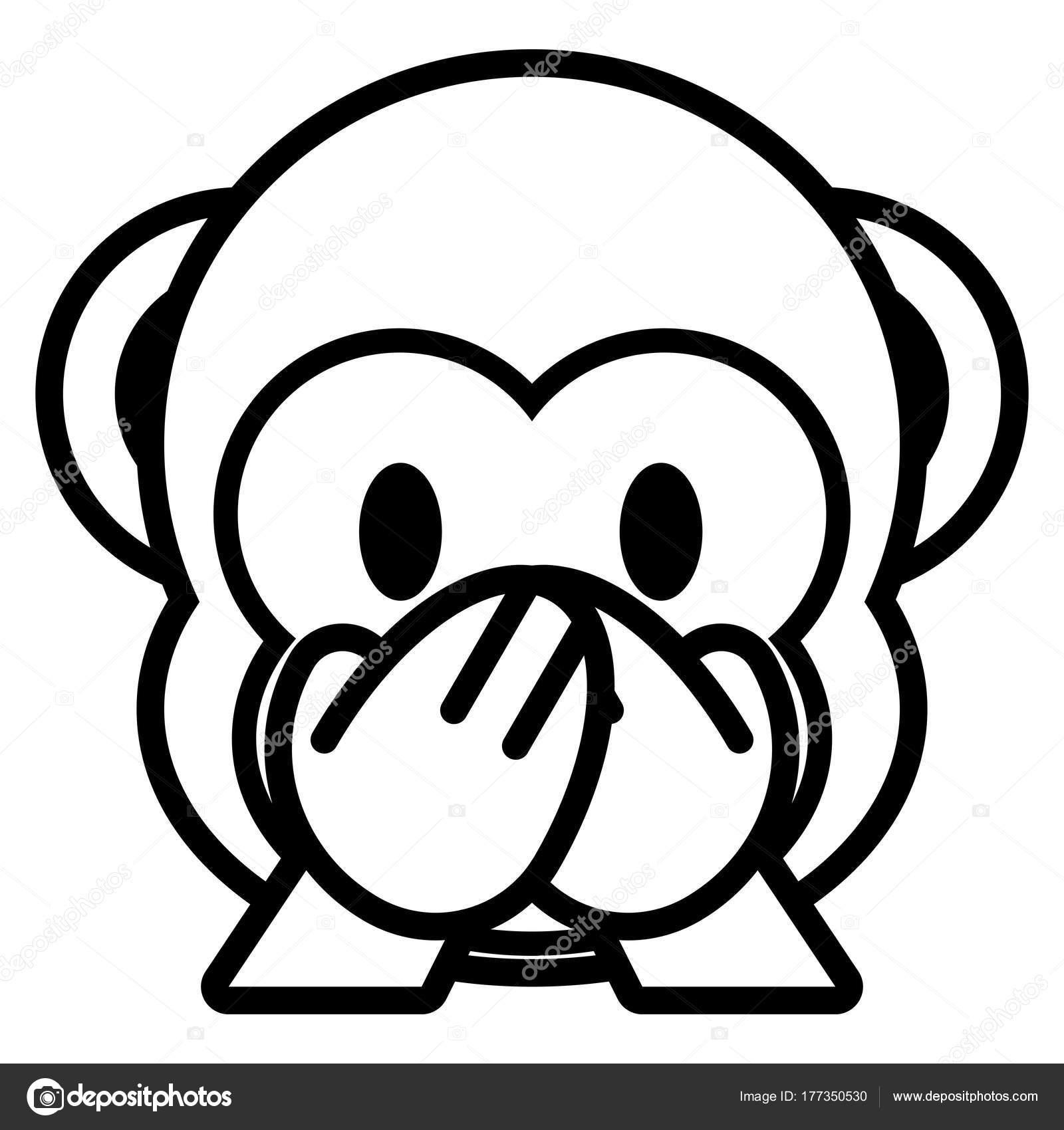 Cartoon Monkey Emoji Isolated On White Background Stock Vector