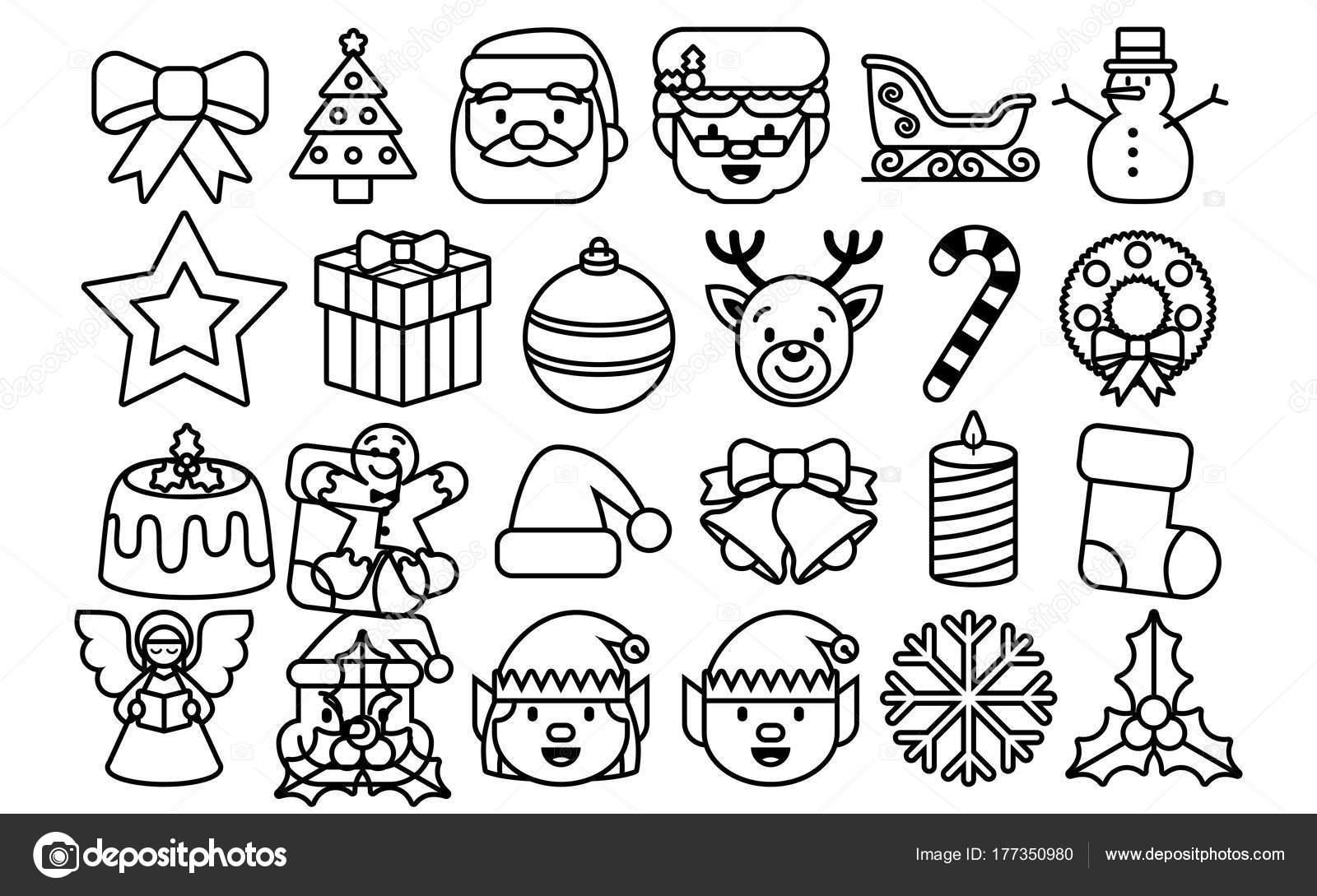 Set Of Christmas Emojis Isolated On White Background Stock