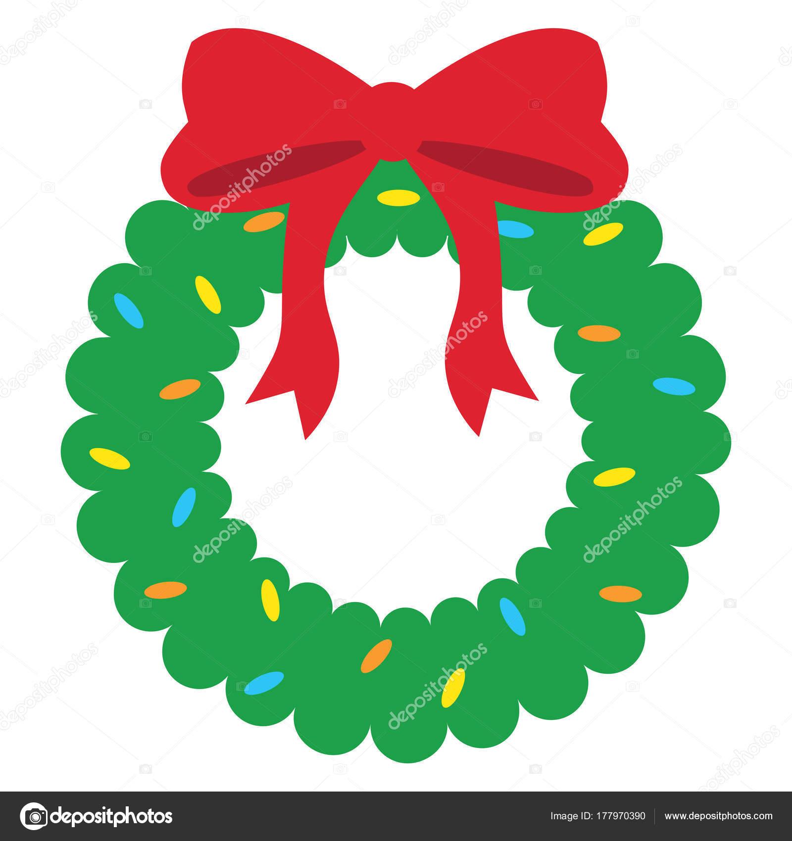 Cartoon Cute Christmas Wreath Isolated Stock Vector C Aratehortua