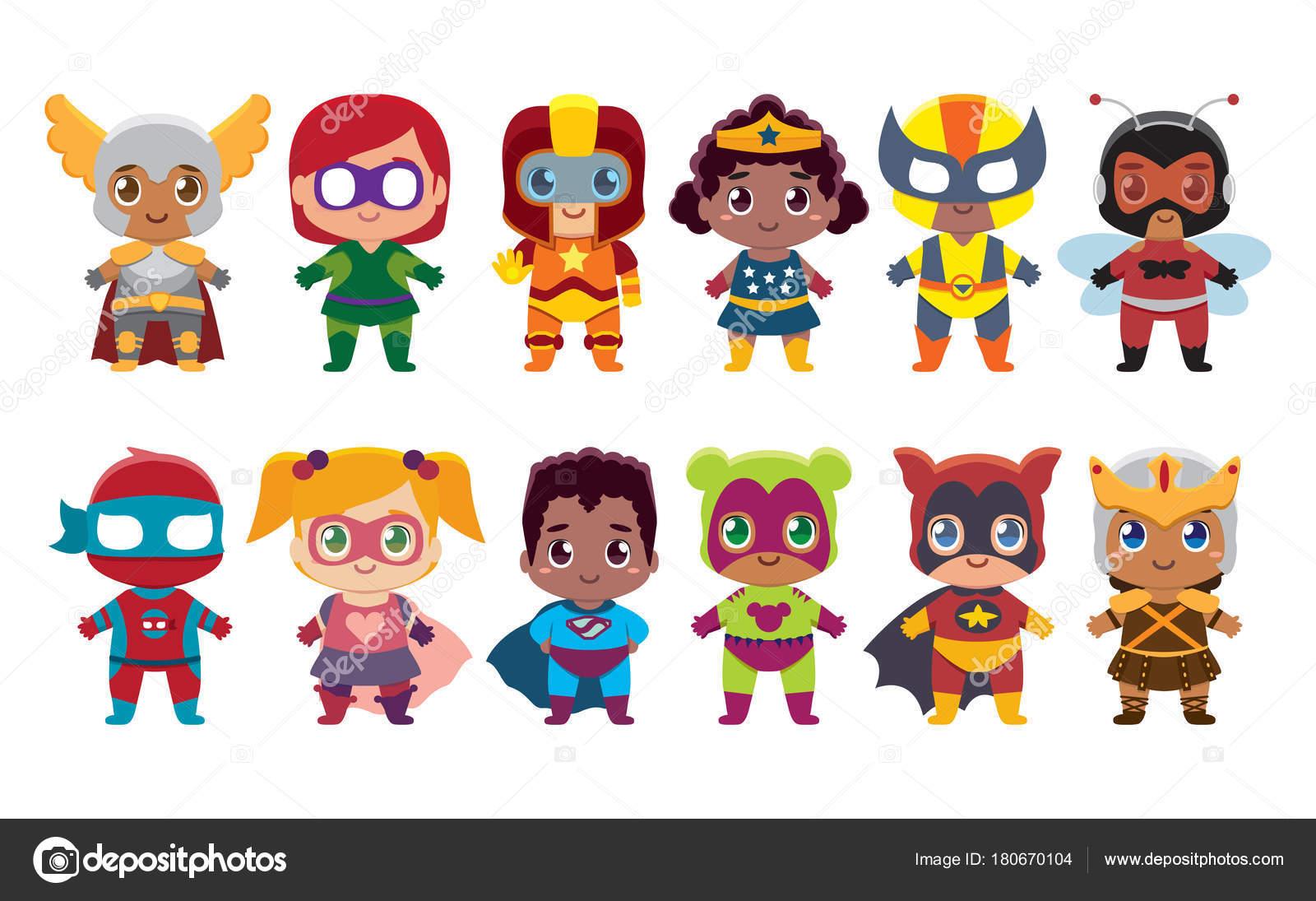 Vectores Heroes En Pijama Kawaii Lindo Set Superhéroes Coloridos