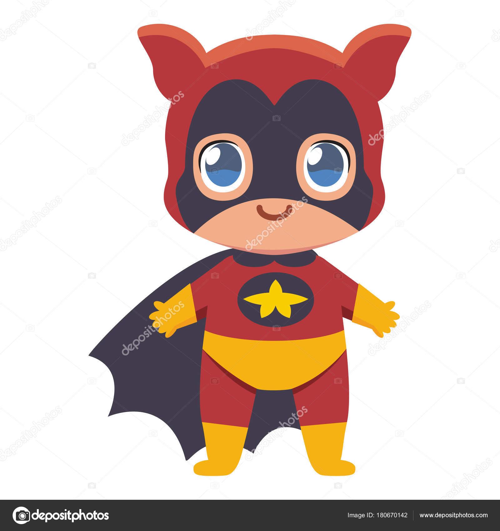 Vector Héroes En Pijama Kawaii Cute Kid Super Héroe Colorido