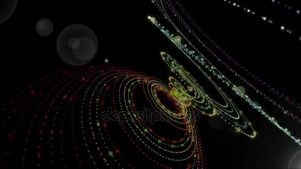 Futuristické animace s zářící částice objektu a světlo v pomalém pohybu, 4096 × 2304 smyčka 4k