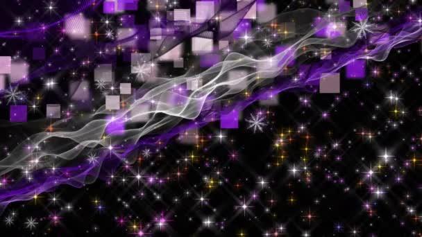 Nádherné vánoční animace s pohyblivými vlny a sněhové vločky a hvězdy, 4096 × 2304 smyčka 4k