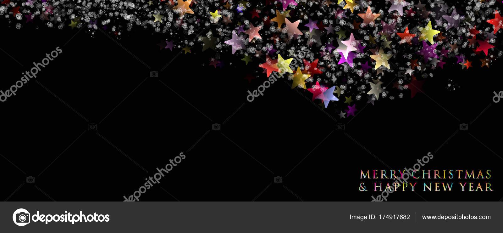 星と雪と素晴らしいクリスマス パノラマ背景デザイン イラスト