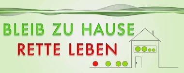 Panorama design illustration BLEIB ZU HAUSE RETTE LEBEN stock vector