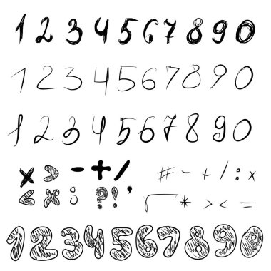 Set of freehand drawn numbers and math signs. Black doodle style