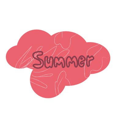 Summer label banner with ornament background and text. Pink cloud texture sticker .Vector stock.
