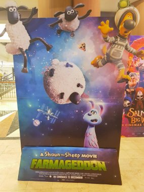 A Shaun the Sheep Movie: Farmageddon movie standee, is a 2019 stop-motion animated science fiction comedy film produced by Aardman Animations