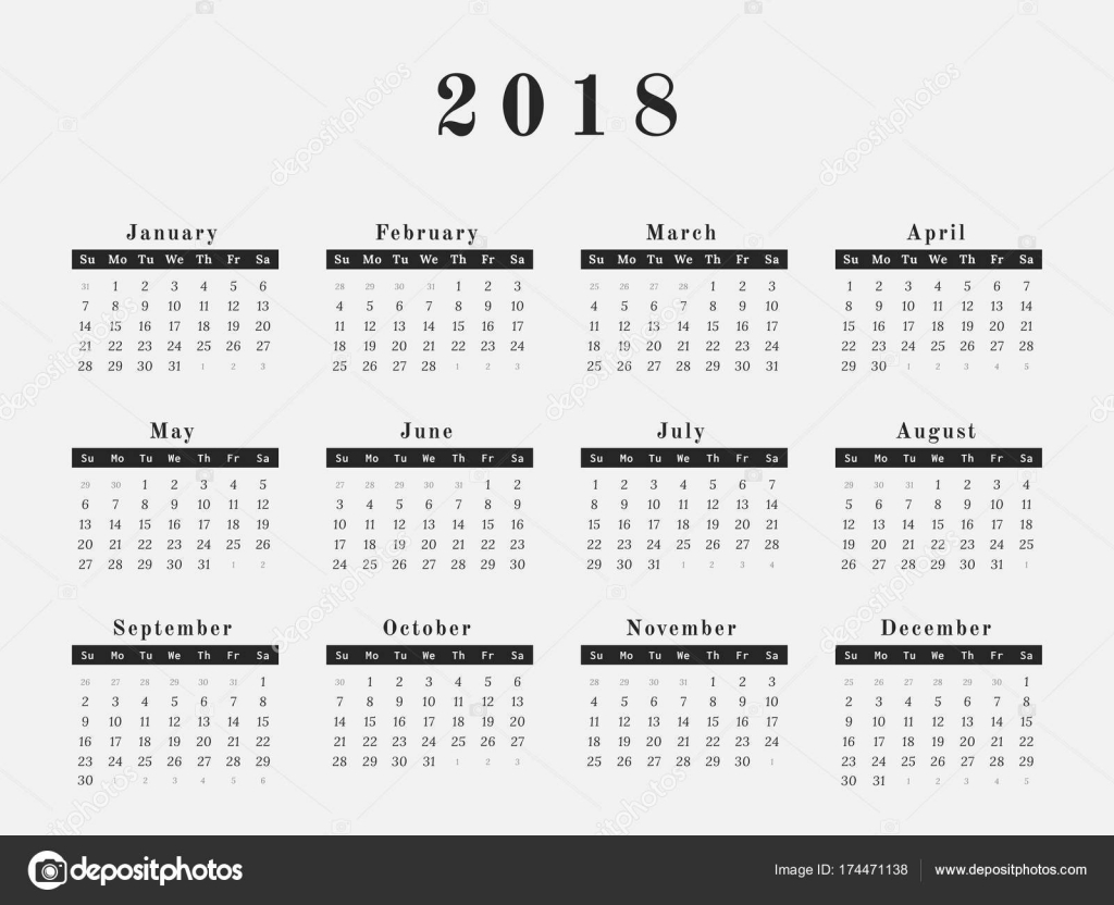 one page calendar 2018