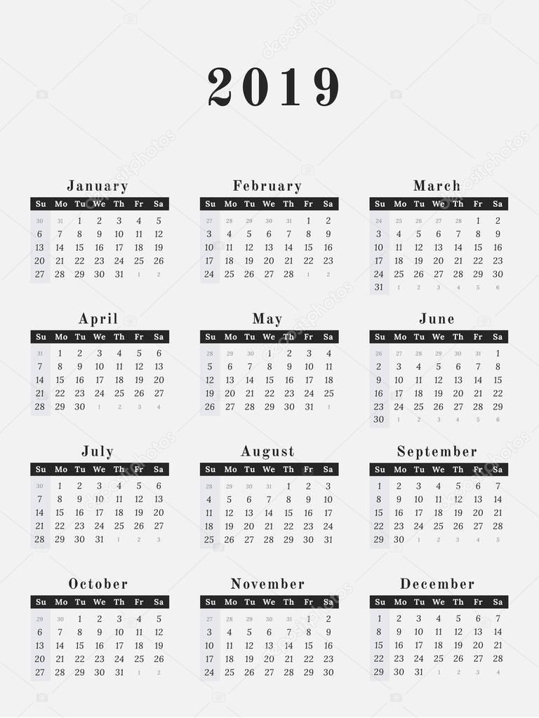 2019 year calendar vertical design  u2014 stock vector