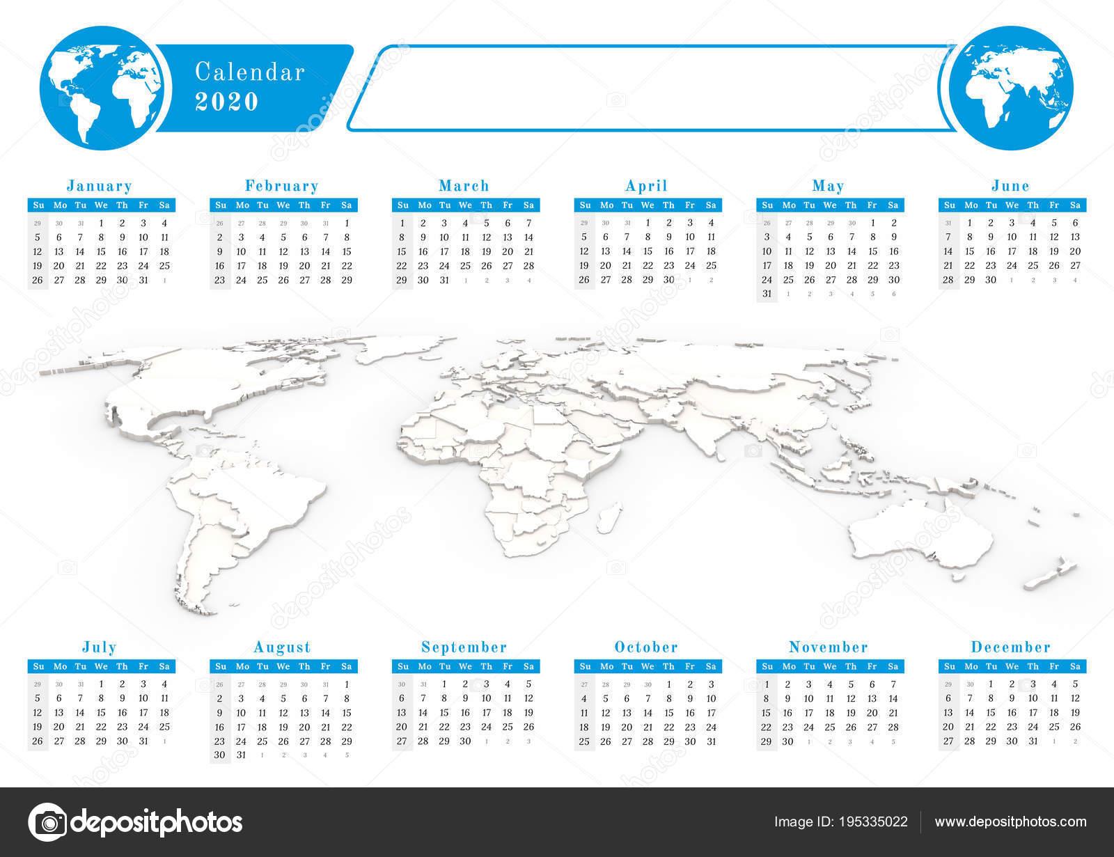 Calendario Mundial 2020.Calendario Del Mundial De Negocios 2020 En Tema Azul Foto