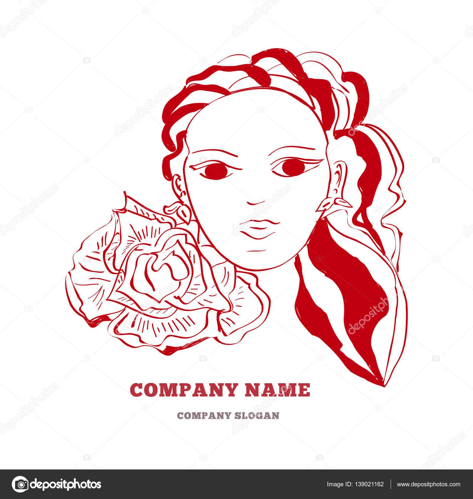 Plantilla de diseño de logotipo vectorial con rostro femenino y rosa ...