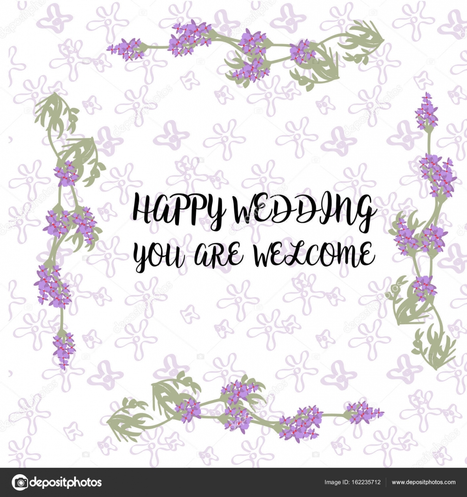 Vector wedding invitations set with lavender flowers on white ...