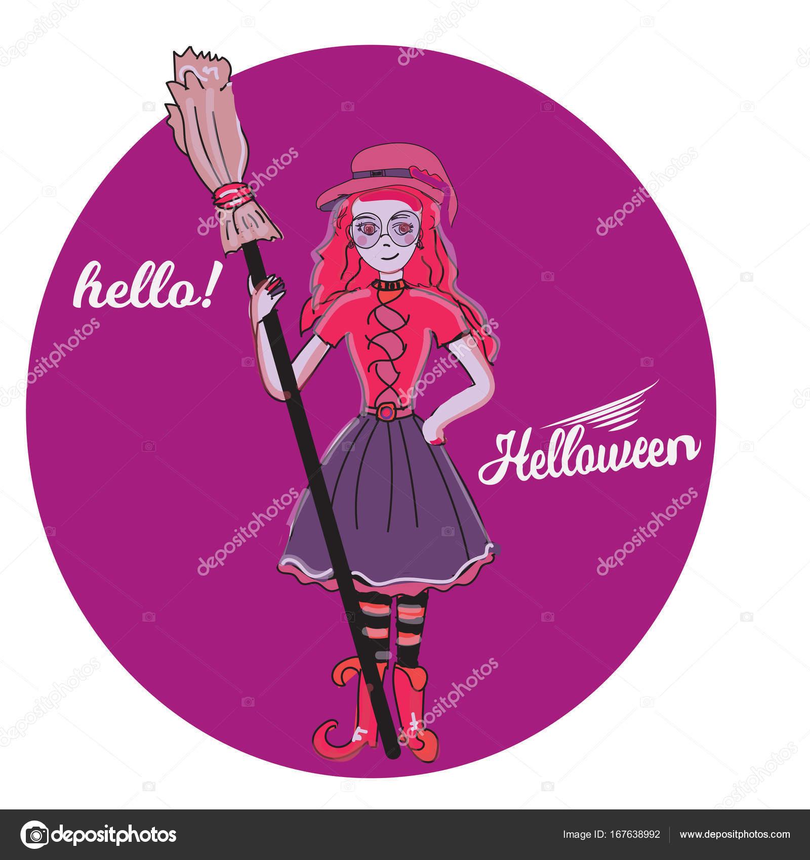 かわいい魔女ハロウィン少女漫画魔法キャラクター衣装帽子ベクトル