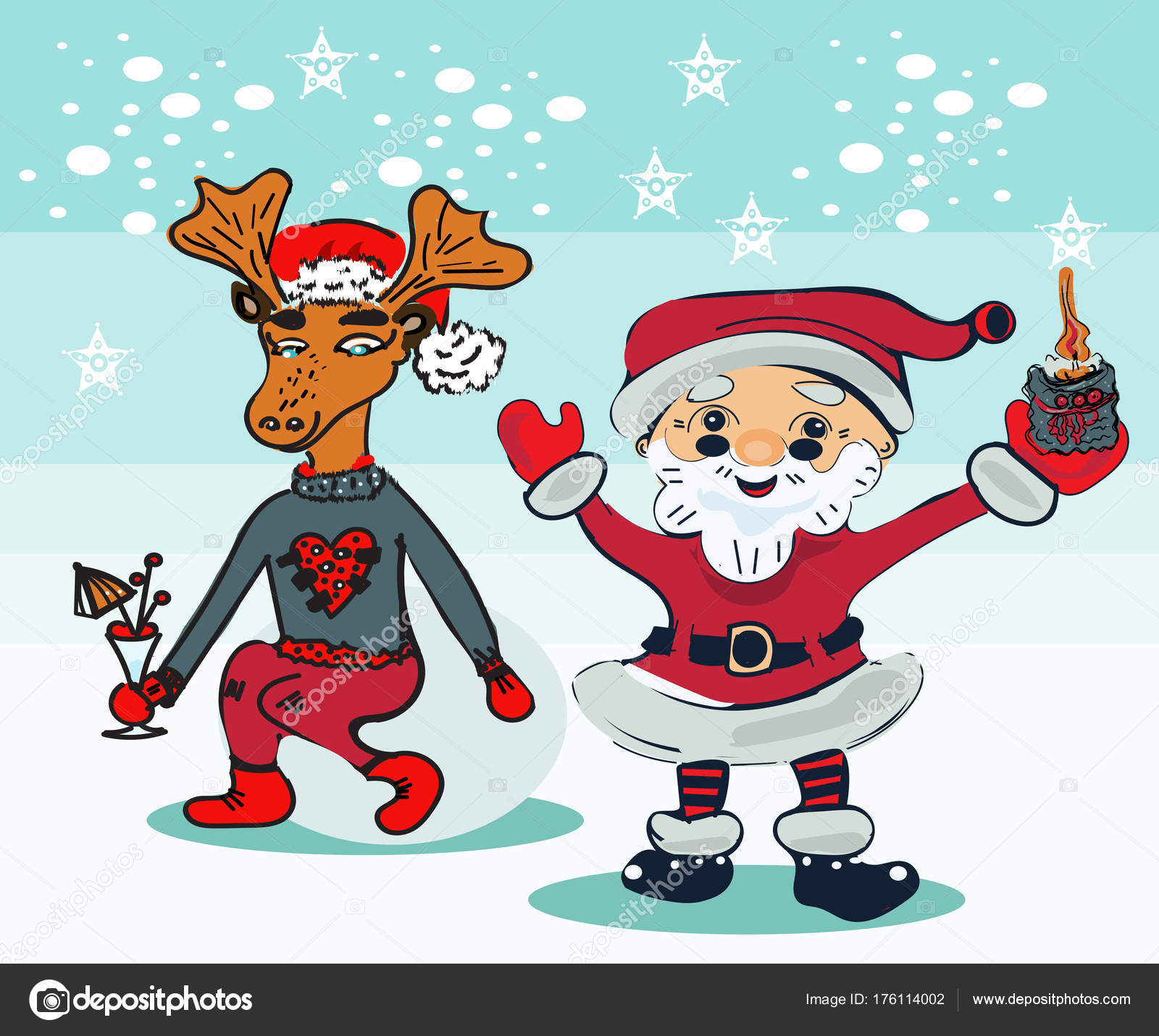 Immagini Simpatiche Babbo Natale.Sfondo Natale Divertente Fumetto Santa Con Divertenti