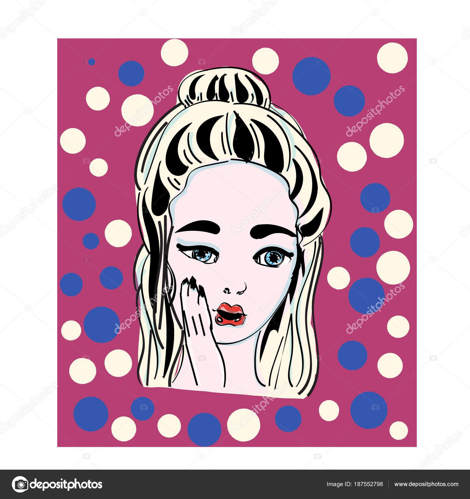 Popart Illustratie Verbaasd Girl Comic Vrouw Wow Advertising