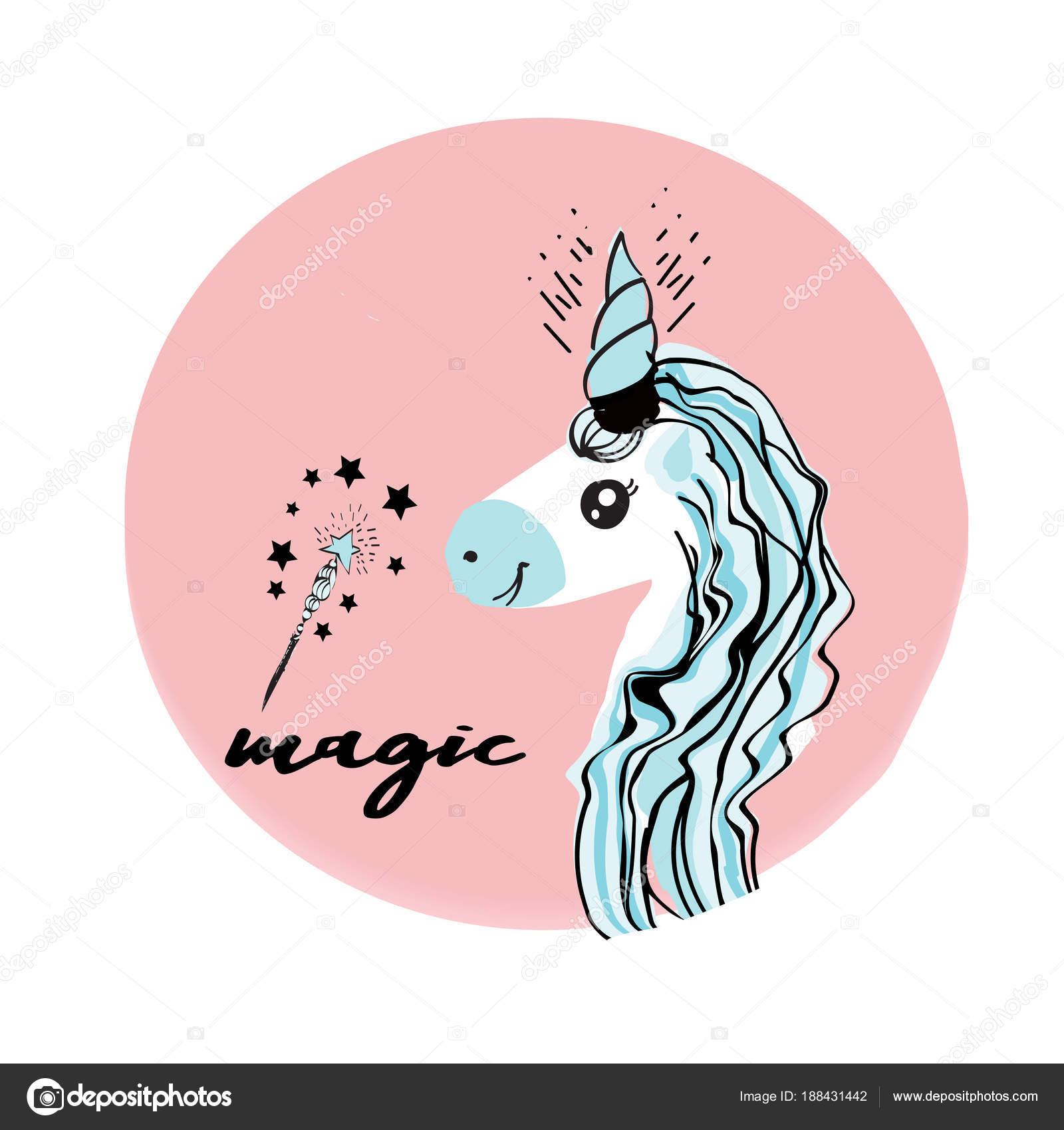 Unicornios son reales cotización, ilustración vectorial de dibujo ...