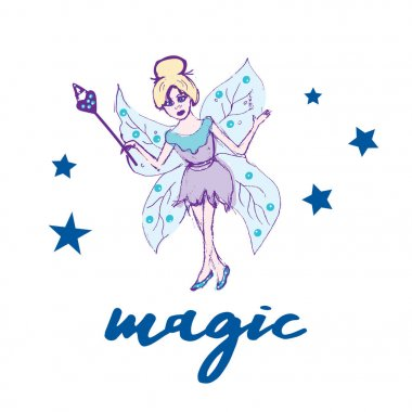 Fairy set. Beautiful girl in fying fairy costumes. Winged elf princesses in cartoon style. Vector illustration for kids and babies
