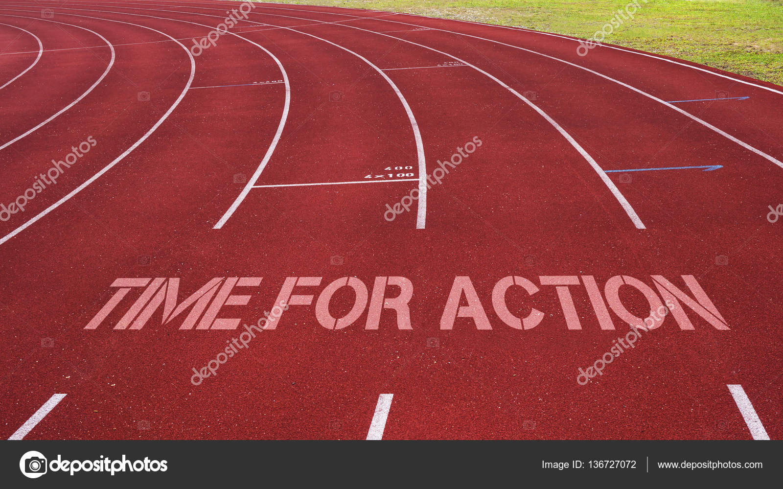Motivational Quote Written On Running Track Time For Action