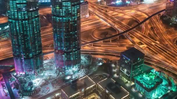 Vista aerea di Downtown Dubai e grattacieli dalledificio più alto del mondo, Burj Khalifa