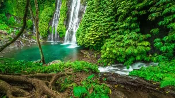 Timelapse majestátní vodopád Banyumala v deštném pralese v Bali, Indonésie