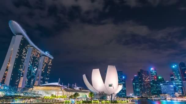 Timelapse Singapore city skyline at night. August 2017