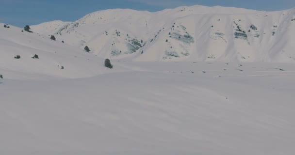 Aerial view Skiers go on landing a heliskiing helicopter standing in the snow in the winter mountains