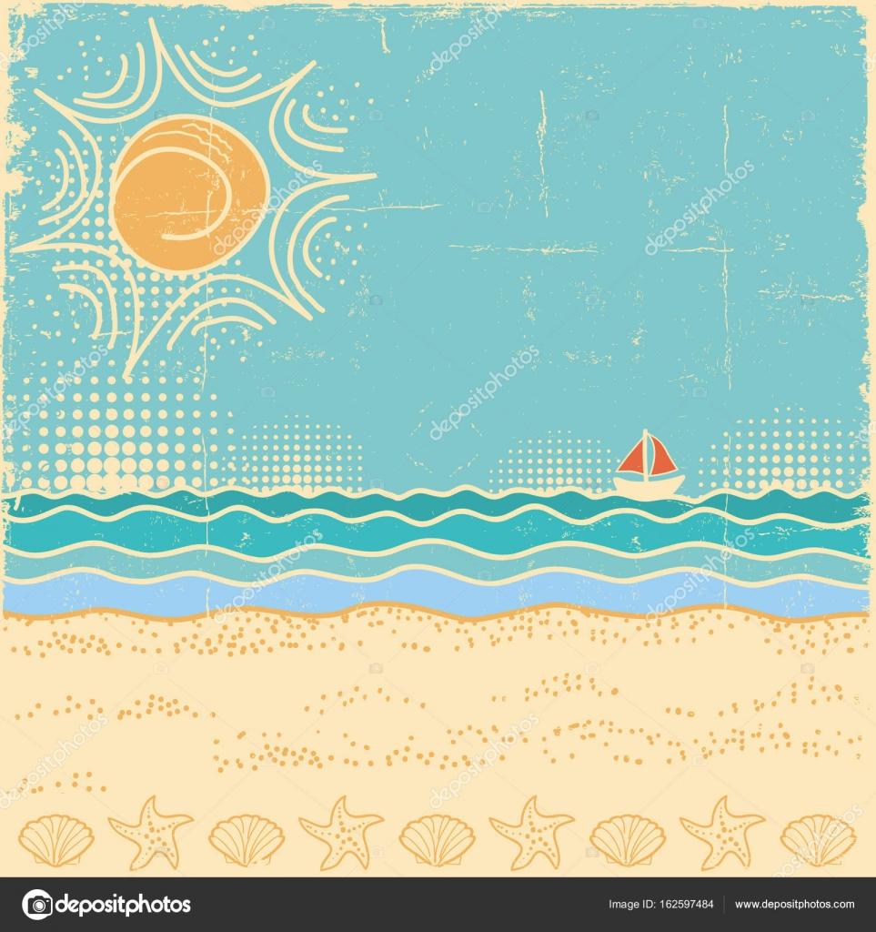 Escena de la playa. Paisaje de mar vintage con olas y cielo sol ...