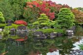 Krásné stromy a rostliny jsou zdobeny v zahradě Koko-En v blízkosti hradu Himeji