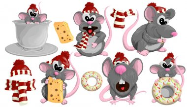 Set of cute rats in red hats in cartoon style. Vector set of rats for your design on white background