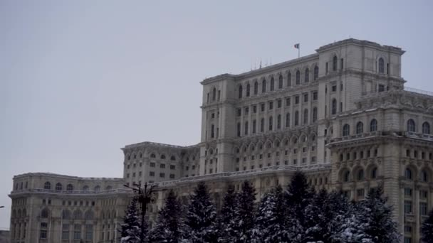 Footage in front of Palace of the Parliament in Bucharest, Romania, 2020