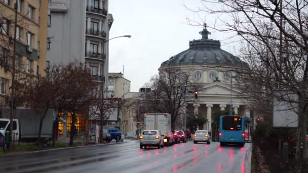 Footage of landmarks of Bucharest downtown area in Romania, Eastern Europe