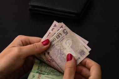 Kadın para sayıyor, Lei'yi yakın sayarak.