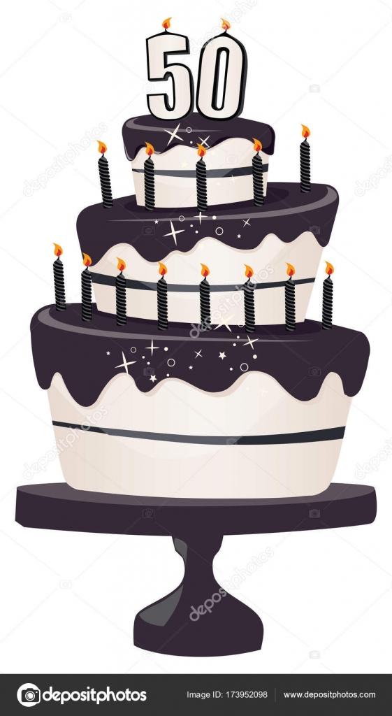50 Geburtstag Clipart Kuchen Mit Kerzen Und Glitzernden Schwarzen